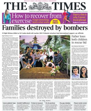 The front page of The Times