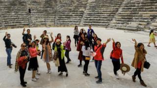 Efes'teki Çinli turistler