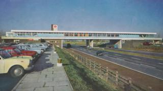Leicester Forest East service station in 1970