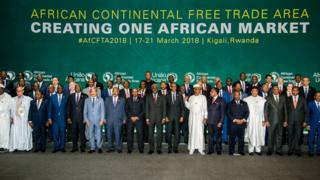 "44 African heads of state lined up in three rows against a background which reads ""African continental free trade area, creating one African market. #AfCFTA2018 17-21 March 2018, Kigali, Rwanda."""