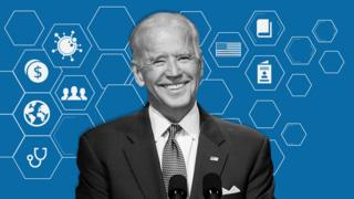 Joe Biden con símbolos de las diferentes áreas que buscará cambiar