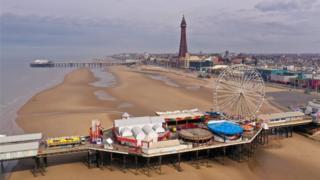 A near-deserted Blackpool Beach