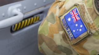 An image of an Australian flag on an army uniform