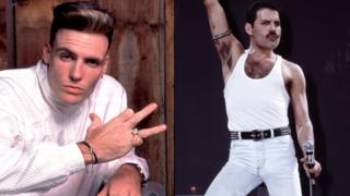 Vanilla Ice (left) and Freddie Mercury from Queen (right).