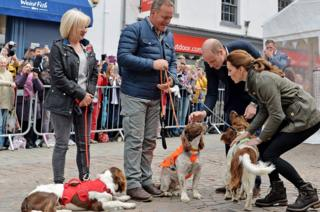 sports Angela, Kerry and the dogs with Prince William and Kate