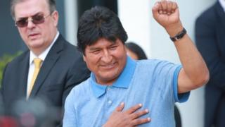 Evo Morales arrives at Benito Juarez International Airport after accepting the political asylum in Mexico