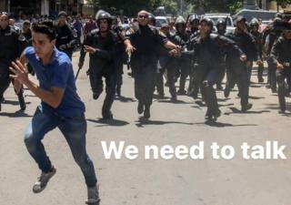 An activist running away from police - with 'We need to talk' superimposed
