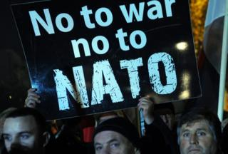 Montenegrins stage a protest in Podgorica against membership in Nato on 12 December 2015
