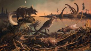 Ilustração de mamíferos na era dos dinossauros