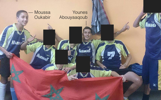 Two of the suspects and their football team