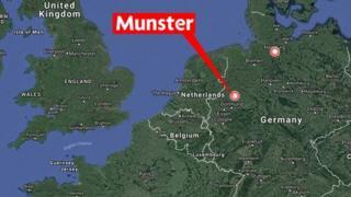 Une carte de Münster où s'est déroulé le drame dans le nord-est de l'Allemagne.