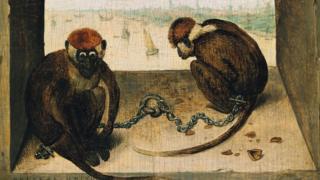 """""""Dos monos"""" (1562) de Pieter Brueghel el Viejo"""
