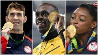 Американский пловец Майкл Фелпс, ямайский легкоатлет Усэйн Болт, американская гимнастка Симона Байлз
