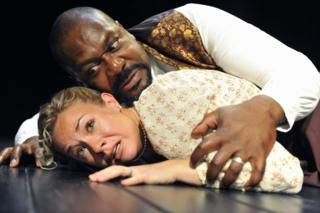 Lenny Henry as Othello and Jessica Harris as Desdemona in William Shakespeare's Othello at the Trafalgar Studios in London