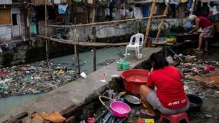 Perkampungan warga berpenghasilan rendah di Manila