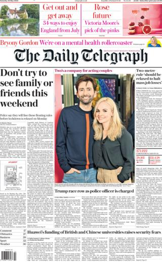 The Daily Telegraph front page 30 May