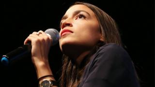House candidate Alexandria Ocasio-Cortez speaks at a progressive fundraiser on August 2, 2018 in Los Angeles, California