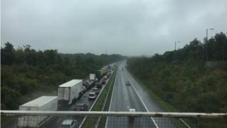 Traffic queuing on the M4 near Swansea
