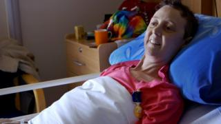 Image shows Connie Johnson in her hospice bed
