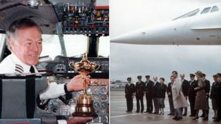 Concorde captains with the Ryder Cup and Prince Charles and Princess Diana