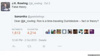 Twitter screengrab: Is Ron a time travelling Dumbledore - fact or theory? False theory JK Rowling posts