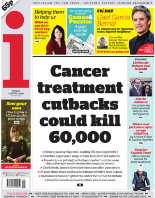 The i front page, 17/4/20