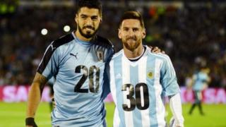 For one World Cup qualifier for September 2017, Uruguay Luis Suarez and Argentina Lionel Messi snap photo with special kit to promote di 2030 bid