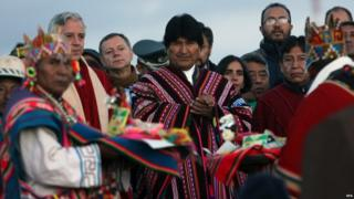 Evo Morales, 21 October 2015, at Pre-Hispanic city of Tiahuanaco