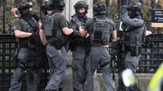 Firearms officers outside Parliament after the Westminster attack in 2017