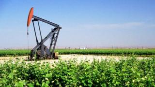 oil pump with green grass