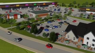 An artist's impression of the Cross Hands West retail park