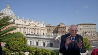 Bernie Sanders at Vatican, 16 April