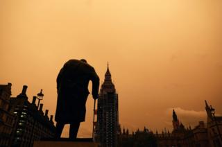 The red sky over Westminster.