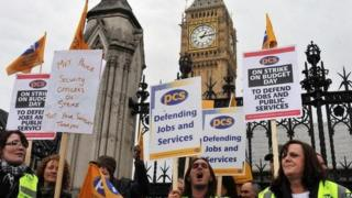 Striking civil servants from the Public and Commercial Services union