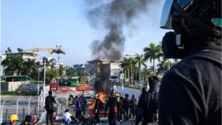 burning barricade at the Chinese University of Hong Kong (CUHK)