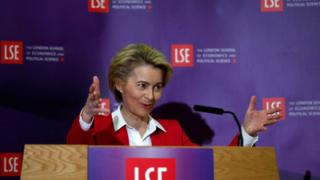 European Commission president Ursula von der Leyen giving a speech at the LSE on 8 January