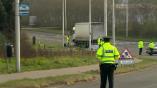 Police closed the road after the fatal collision in Lisburn