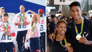Team GB medallists/French medallists back from Rio, 23 Aug 16