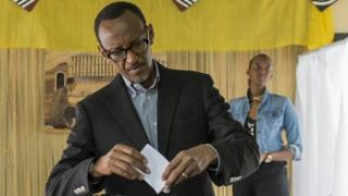 "Handout photo of Rwanda President Paul Kagame casting his vote in Rwanda""s capital Kigali"