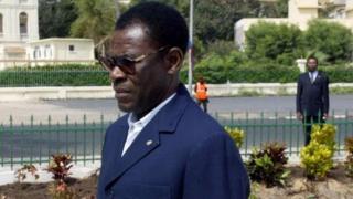 Le président Theodore Obiang Nguéma lors d'une visite au Sénégal (archives)