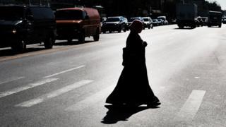 A Muslim woman is seen walking in Brooklyn