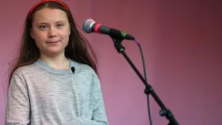 Greta Thunberg on stage at protests in Marble Arch