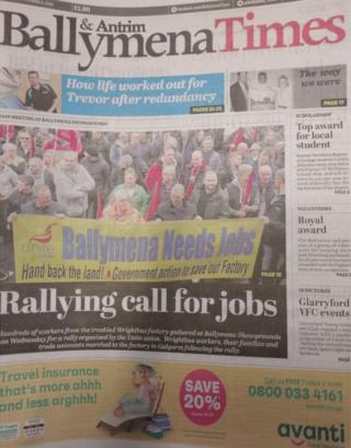 Front page of the Antrim and Ballymena Times