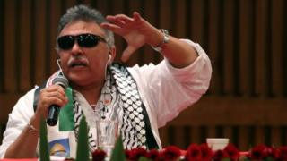 File picture showing Seuxis Pausias Hernandez Solarte, alias Jesus Santrich, during a press conference on 1 December 2017
