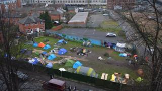 """The second """"tent village"""" near the Broadmarsh shopping centre in Cliff Road"""