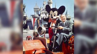 Walt and Mickey at Disneyland in 1966.