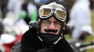 Biker with moustache