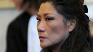 """This file photo taken on October 13, 2015 shows Lise Han, a former member of the cabinet of Socialist Party (PS) Senator and former Tours"""" Mayor, during the trial of the so-called """"Mariages Chinois"""""""