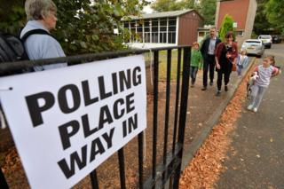 Voters at Broomhill Primary School polling station on September 18, 2014 in Glasgow, Scotland.