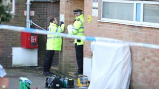 Police at Clarendon House in Clarendon Road, Hove